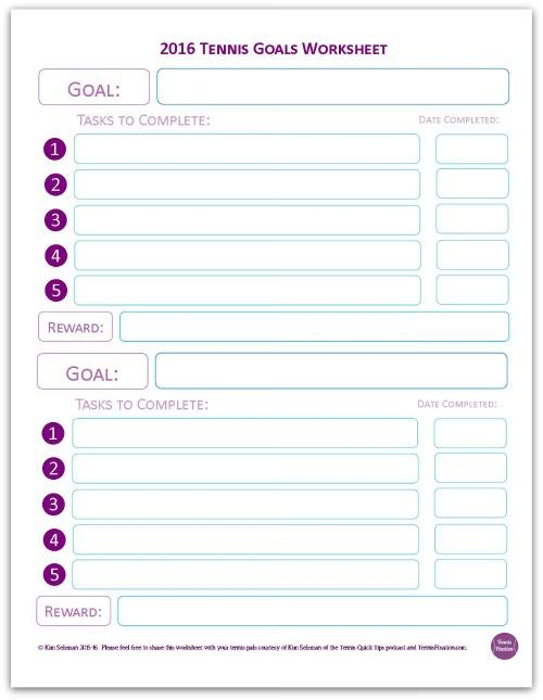 Tennis Goals Worksheet 2016